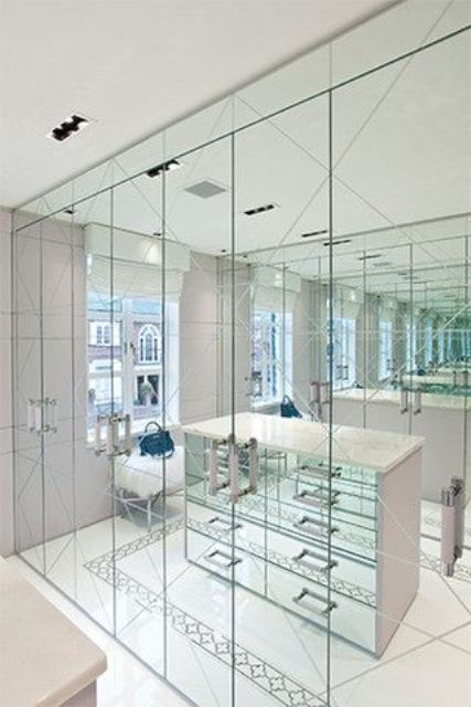 all the mirrored doors make your closet look bigger and you can use mirrors looking at yourself from all the sides