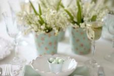 14 a lace platter, a mint napkin and a bowl with a bucket with tiny mint eggs