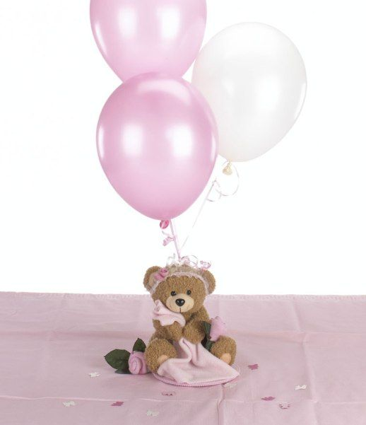 a teddy bear with pink balloons for a girl's baby shower