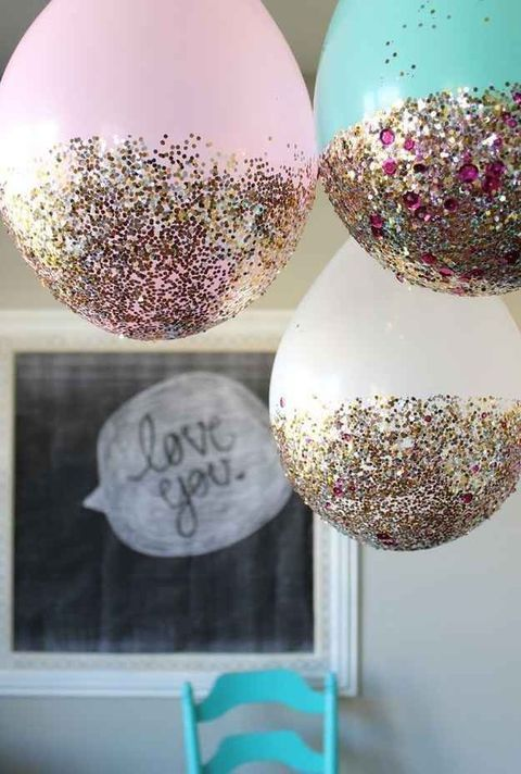 glittered and sequined balloons hanging over are great for a bachelorette party