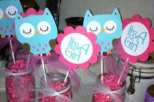 14 letters and owl props in mason jars with pink confetti