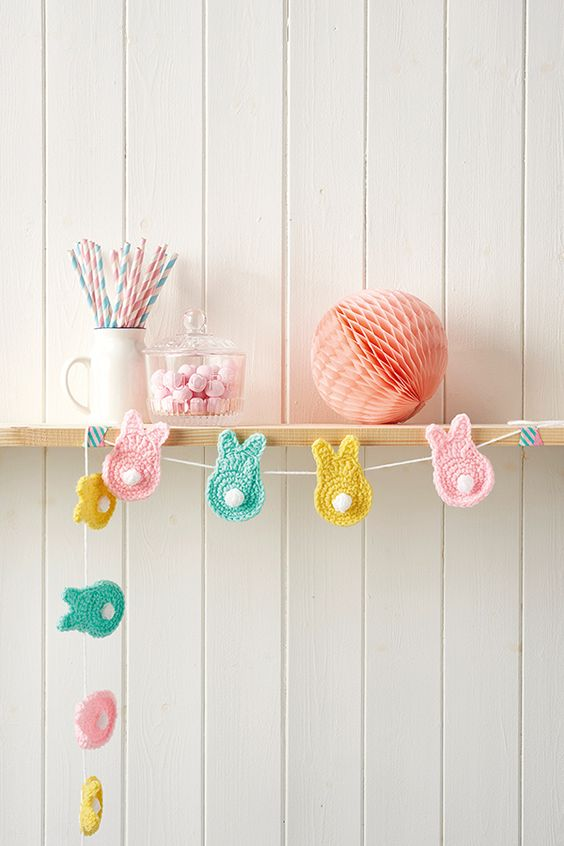 14 pastel crochet bunny garland with tails