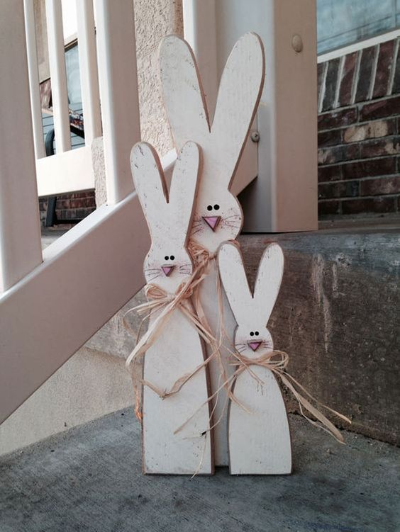 a rustic-looking combo of cute bunny signs