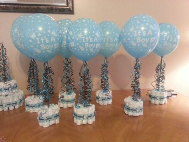 diaper arrangement with a blue balloon