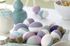 15 half painted pastel Easter eggs