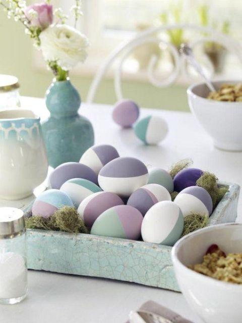 half painted pastel Easter eggs