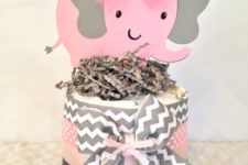 15 pink and grey diaper and elephant centerpiece