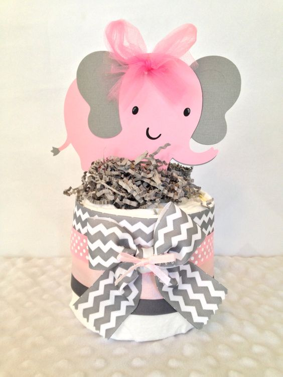 pink and grey diaper and elephant centerpiece