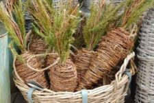 15 twine carrots in a basket will be a nice outdoor decoration