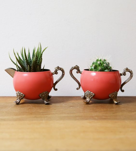 vintage coral painted cream and sugar set of planters