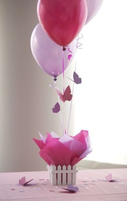 a balloon and paper butterflies cnterpiece can be easily DIYed