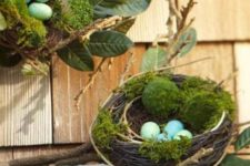 16 a nest with moss, leaves and blue eggs for Easter decor