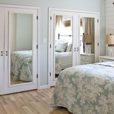 mirror panels added to wardrobe doors will visually expand the space