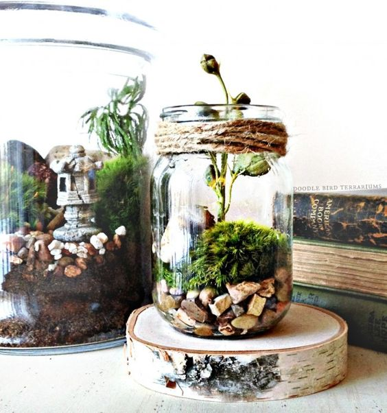 a small jar terrarium with rocks, moss and flowers, a wooden slice as a stand