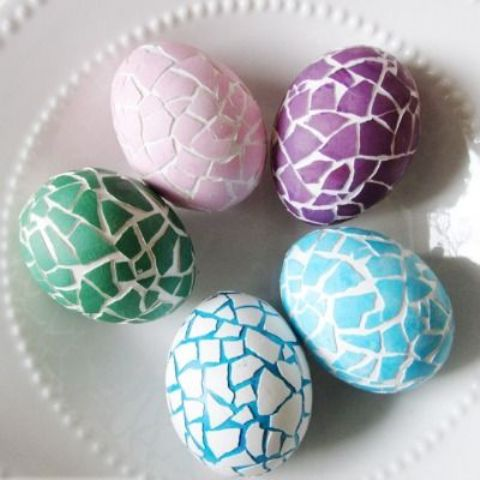 colorful cracked shell Easter eggs