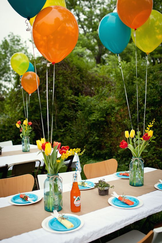 jars with bold tulips and balloons