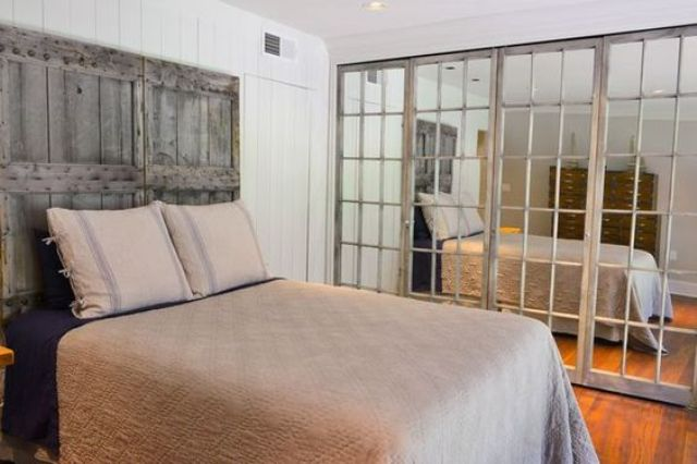 mirrored closet doors framed with wood