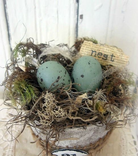 a pot with moss, twine, speckled eggs and a printed word in a pot