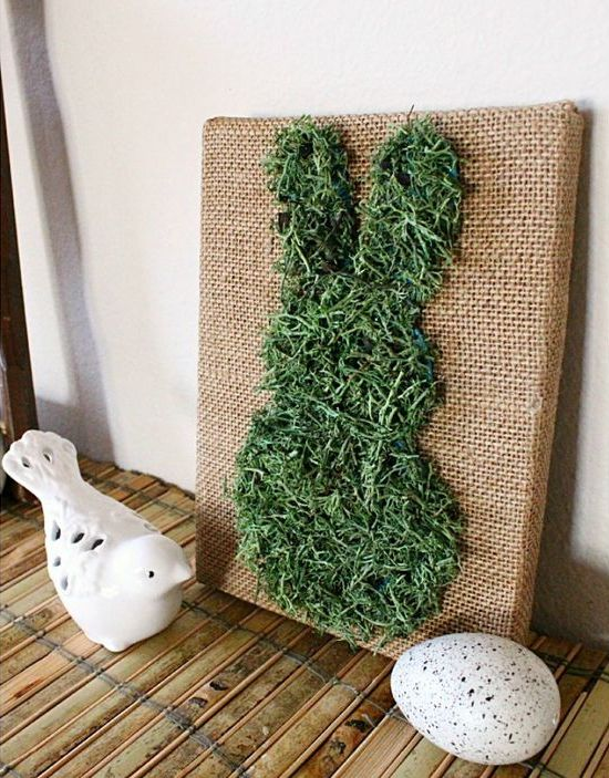 moss covered bunny burlap art work