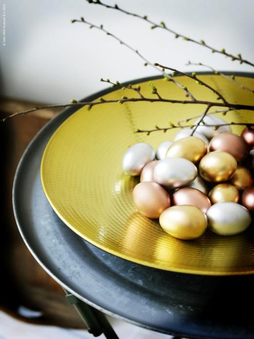 soft toned shiny Easter eggs for displays