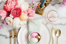 19 a neutral platter, a pink plate and colored eggs in a bowl