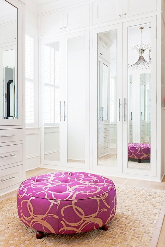 mirrored closet doors reflect the light and fill the space with it