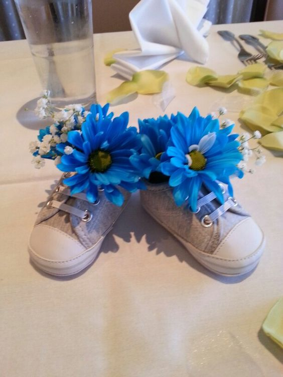 sneakers with blue flowers and baby's breath
