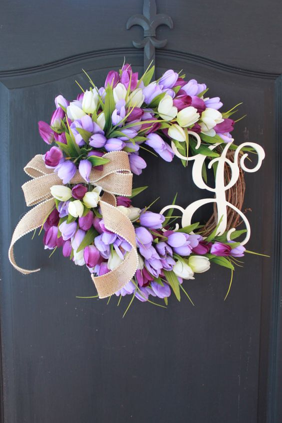 bold tulips spring wreat with a monogram