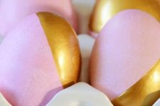 20 pink dipped Easter eggs with metallic decor