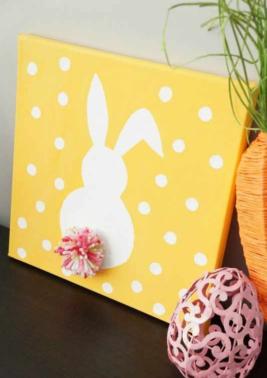simple Easter bunny polka dot canvas art