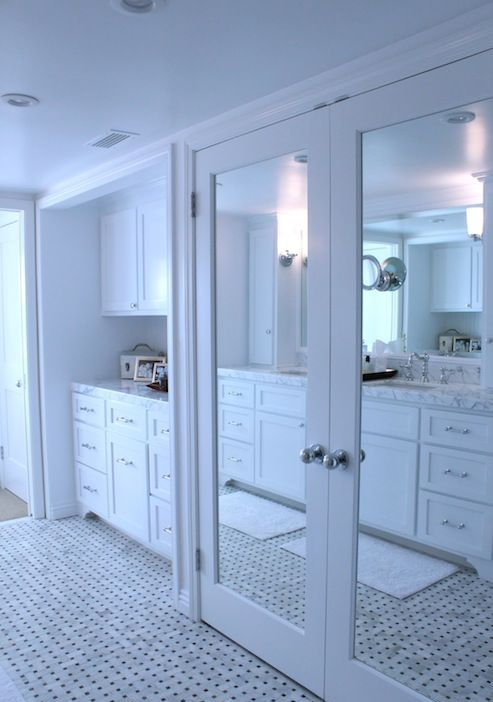 simple white frame mirrored closet doors to make your space look bigger