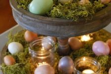 20 wooden cupcake stand with moss, colorful eggs and candle