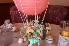air balloon baby shower centerpiece