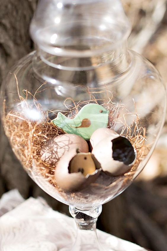 a glass jar with a bird cookies and cracked bird egg shells