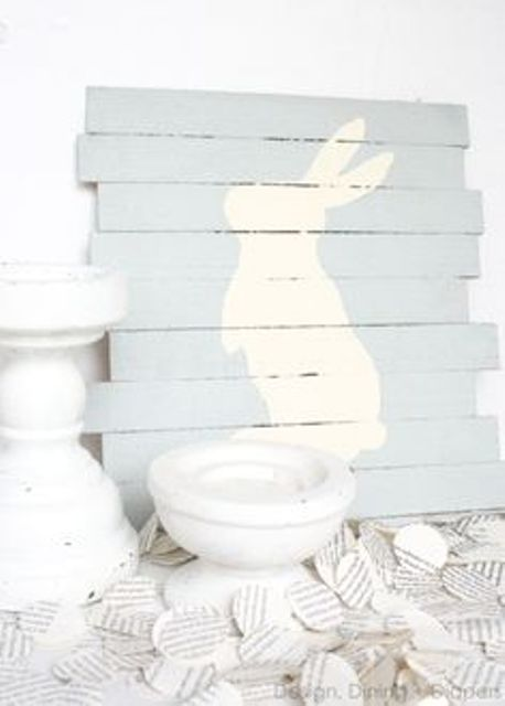 light blue pallet bunny sign is super easy to make