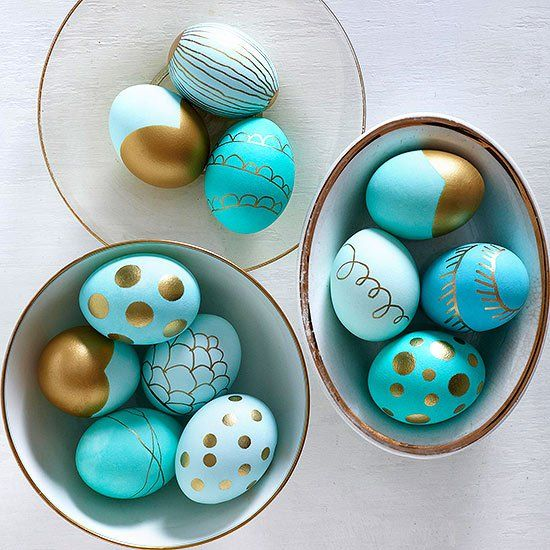 turquoise and gold patterned Easter eggs