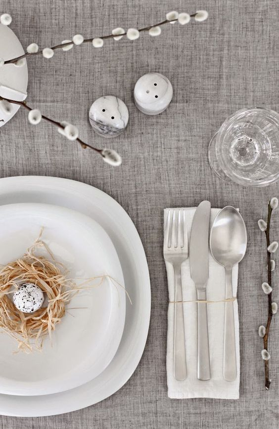 simple grey tablecloth, willow, a nest with a faux egg