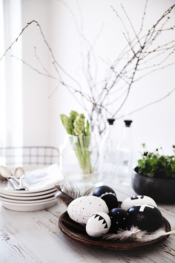 stylish black and white Easter egg display