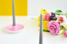 DIY pastel saucer candle holders