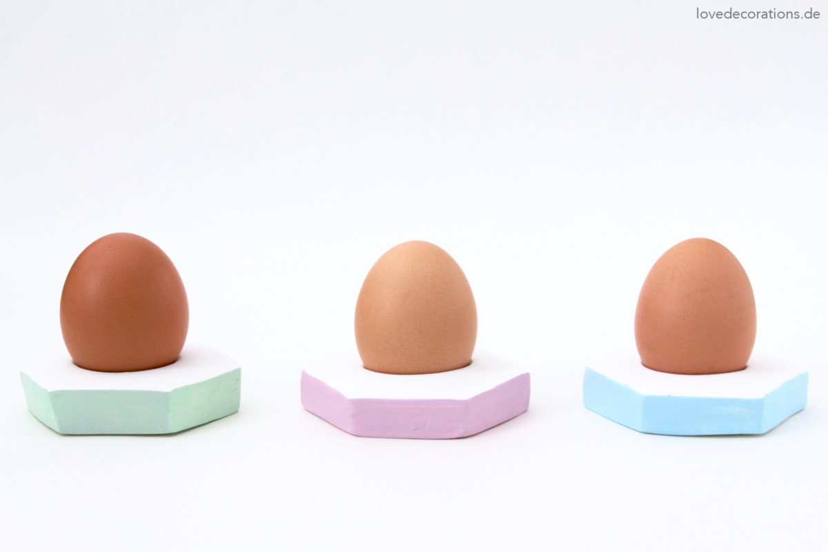 DIY colorful clay egg dishes for Easter