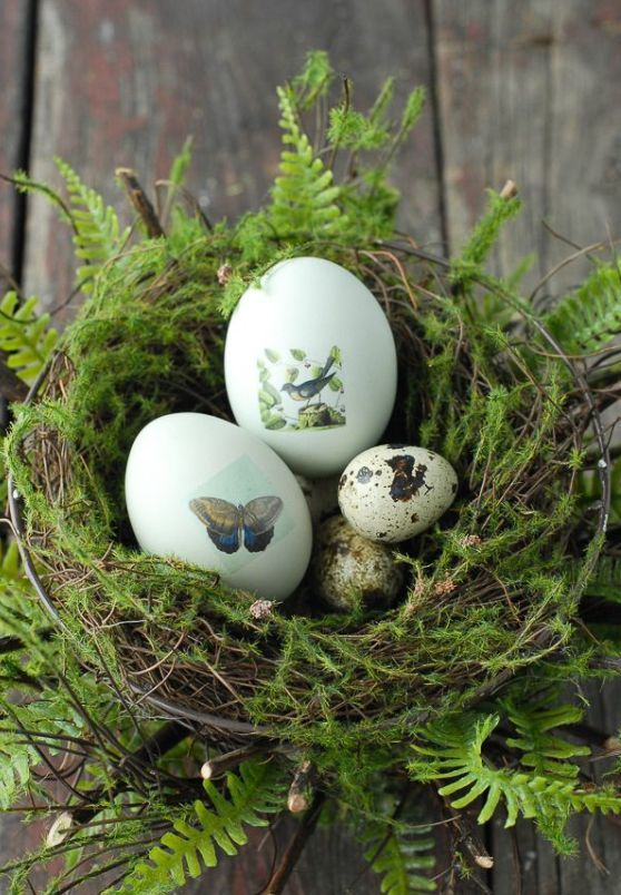 Easter eggs with butterfly and bird decals instead of painting them