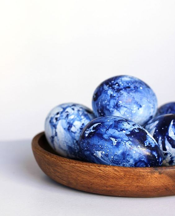 adorable marbles indigo eggs remind of cosmos