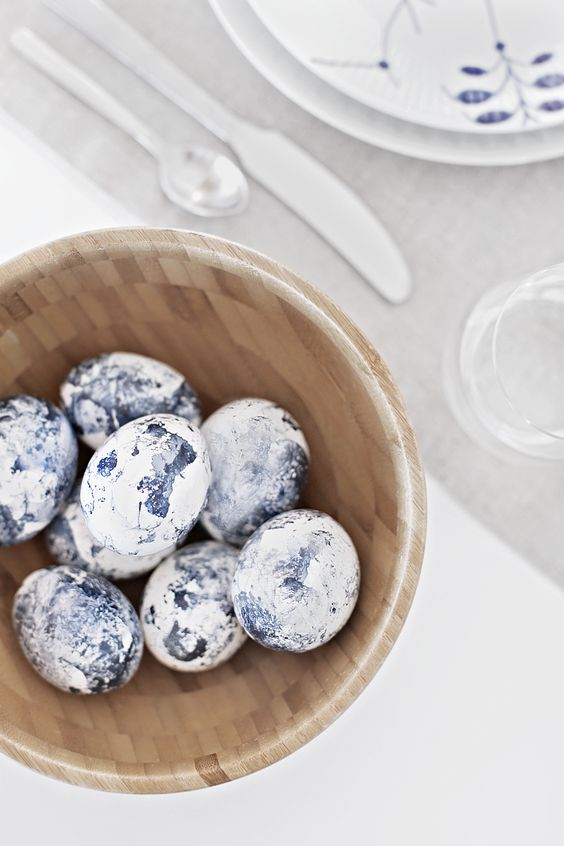 blue marbleized Easter eggs made of clay make a cool decoration