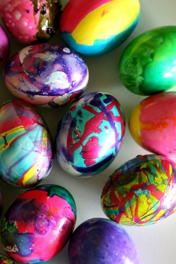 colorful marbelized Easter eggs that look vibrant
