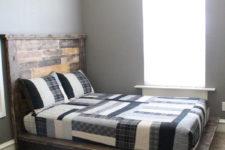 DIY platform bed of reclaimed wood