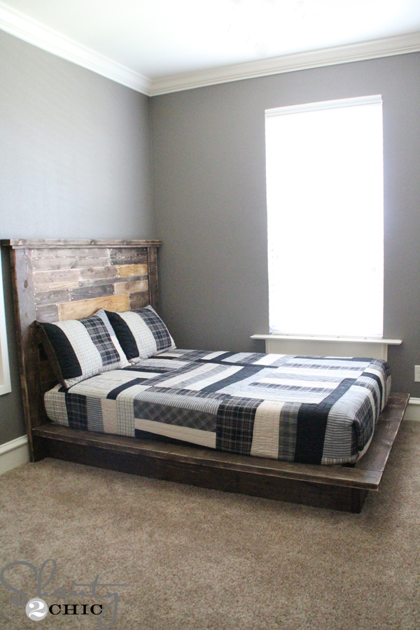 DIY platform bed of reclaimed wood (via www.shanty-2-chic.com)