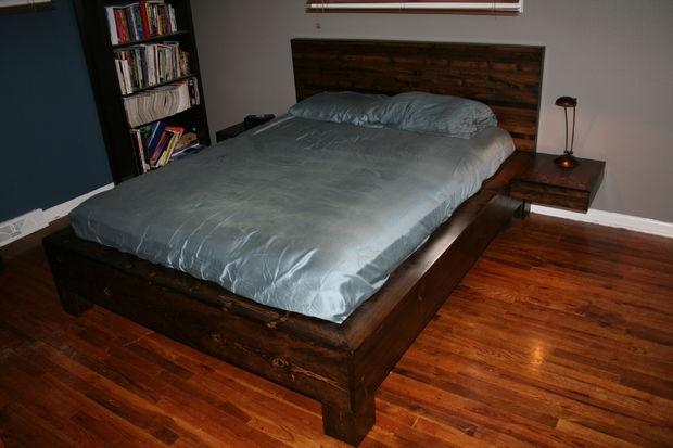 DIY platform bed with floating nightstands (via www.instructables.com)
