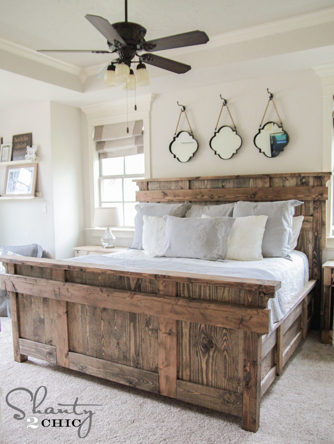 Elegant DIY rustic king size bed via shanty chic