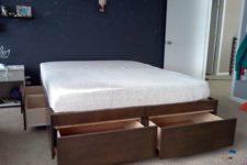 DIY simple platform bed with storage drawers
