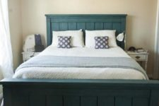 DIY farmhouse teal bed